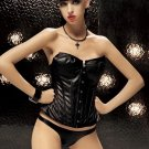 FAUX LEATHER CORSET AND PANTY, SIZE S