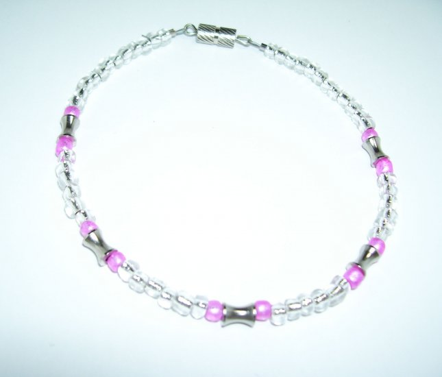 Clear and Pink Anklet w/ Silver Cylinders