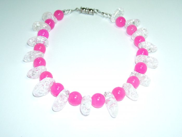 Pink Anklet w/ Clear Oval Beads