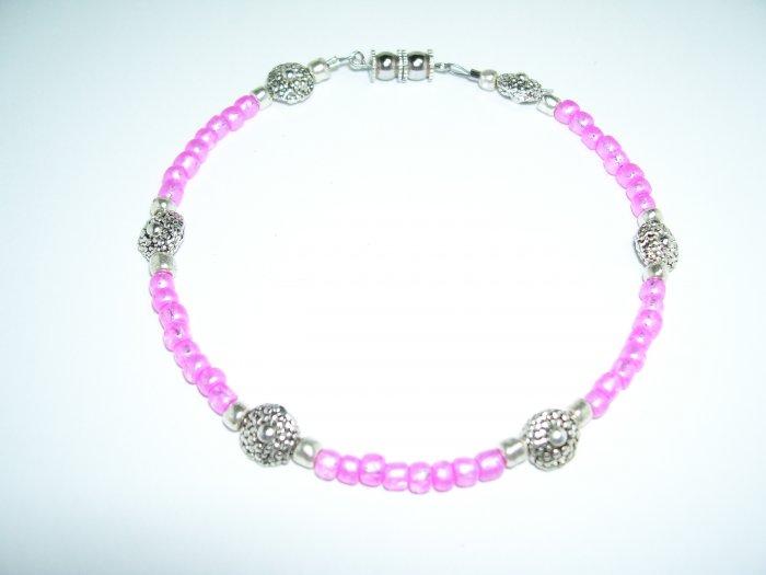 Pink Anklet w/ Silver Flower Petals