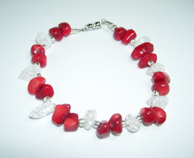 Red and Clear Beaded Anklet