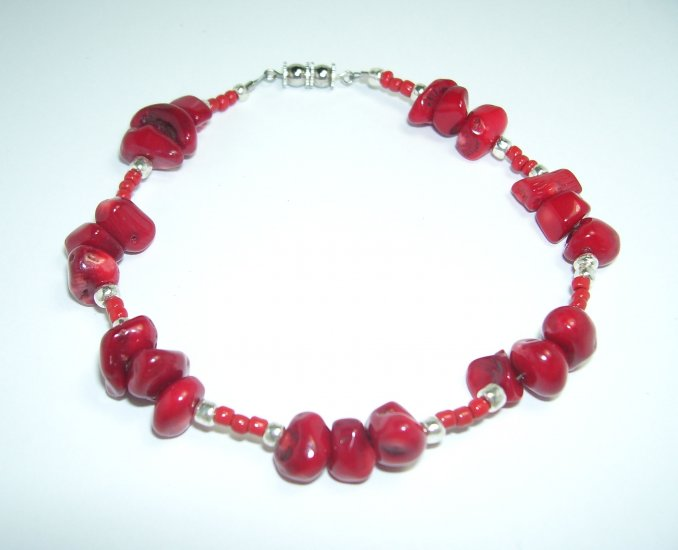 Red Anklet with red beads