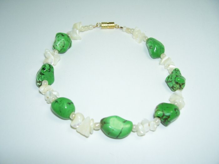 Green Turqoise and Pearl Anklet