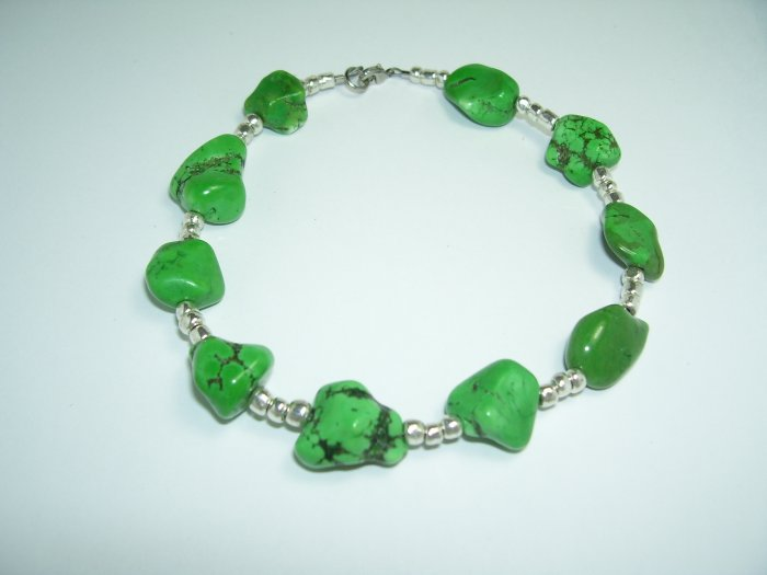 Green Turqoise and Silver Anklet