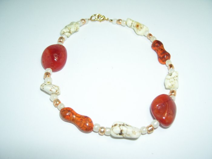 Cognac and White Turqoise Anklet