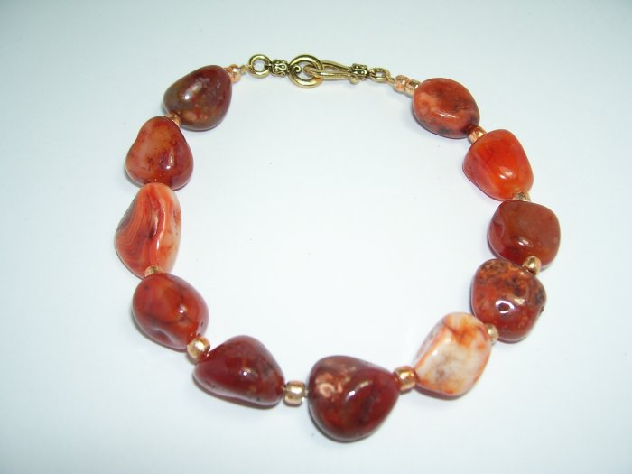 Cognac  Anklet with copper beads.