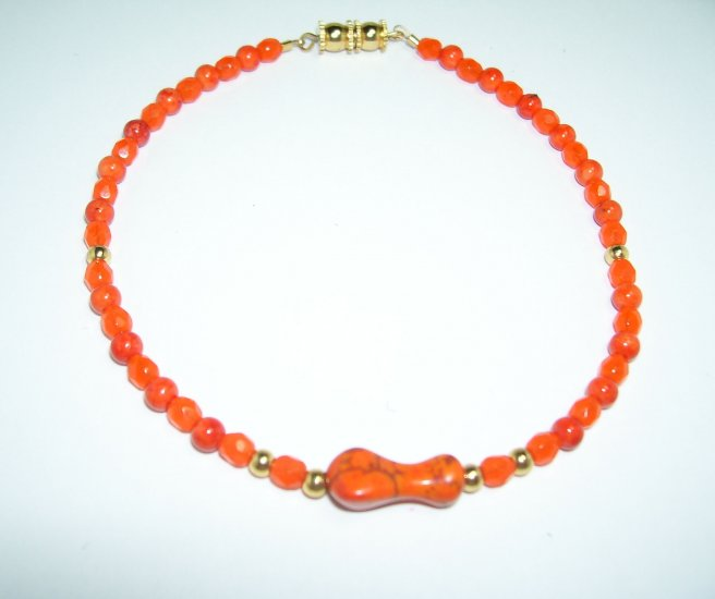 Orange Anklet w/ Orange Stone