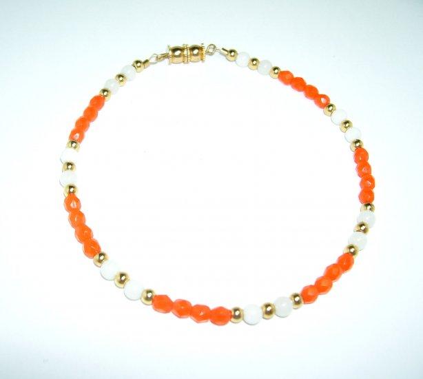 Orange and White Anklet