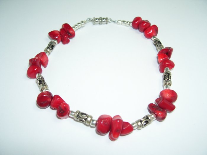 Red and Silver Anklet