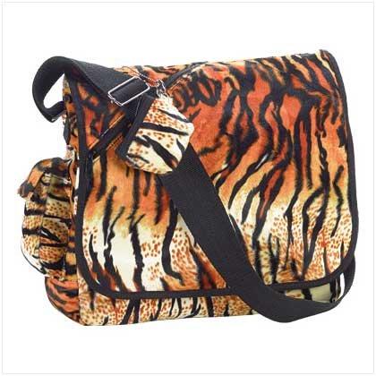 TIGER PRINT MESSENGER BAG