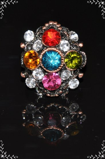 Multi-color crystal copper plated vintage stye ring R1231