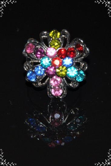 Rainbow color crystal flower ring R1233