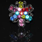 Rainbow color crystal flower ring R1233