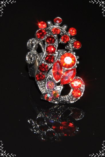 Rare two tone red crystal peacock ring R1234