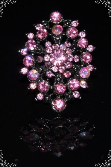Large pink crystal flower ring R1236