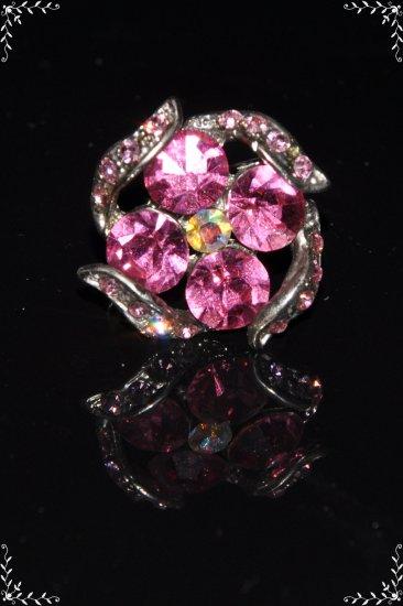 Pink crystal flower ring R1237