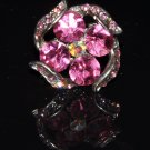 Pink crystal flower ring R1237