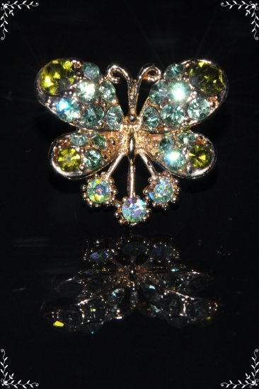 Green crystal butterfly gold ring R1241