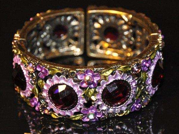 Daisy flowers purple crystal vinatge style bangle B1005