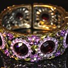 Daisy flowers purple crystal vinatge style bangle B1005