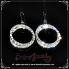 Double hoop clear crystal rhinestone sparkling dangle earrings E3005