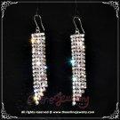 5 Row two tone pink n clear crystal rhinestone sparkling dangle earrings E3007
