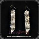 Two tone champagne gold n clear crystal rhinestone sparkling dangle earrings E3008