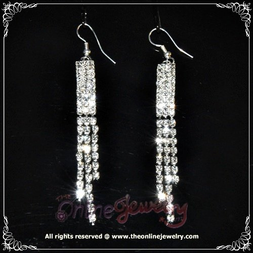 Elongated 3 row clear crystal rhinestone sparkling bridal dangle earrings E3010