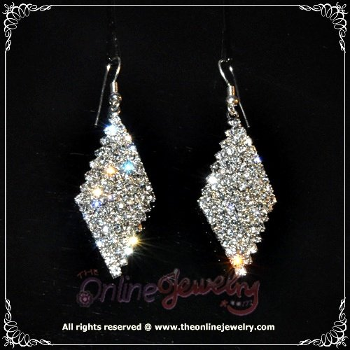 Rhombus clear crystal rhinestone wedding bridesmaid dangle earrings E3012