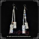 Rectangle 2 row clear crystal rhinestone sparkling dangle earrings E3014