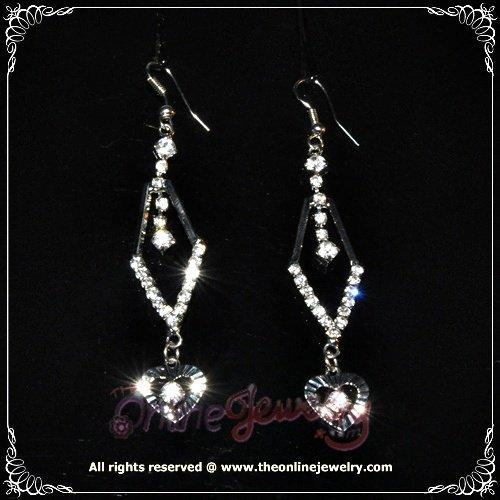 Dangling heart rhombus clear crystal rhinestone wedding bridesmaid sparkling earrings E3018