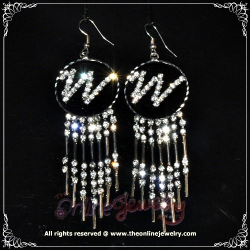 """Meaningful alphabete """"W"""" initial dangling clear crystal rhinestone sparkling name earrings E3019"""