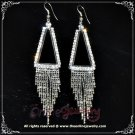 9cm long triangle dangling clear crystal rhinestone sparkling queen earrings E3020