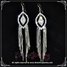 Long pointed oval in oval dangling clear crystal rhinestone sparkling pageant queen earrings E3022