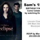 2 Twilight Eclipse Movie Ticket Invitations