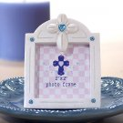 Pearl White Photo Frame Cross & Blue Color Stones (5558)