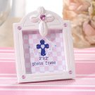 Pearl White Photo Frame w/ Cross & Pink Color Stones (5559)