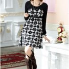 Long-sleeved Plaid Dress (Black)