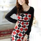 Long-sleeved Plaid Dress (Red)