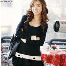 Autumn Casual Colorblock Dress (Black)