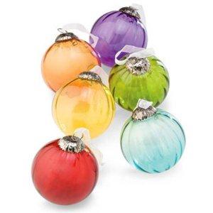 Colored Glass Ornaments - Set of Six