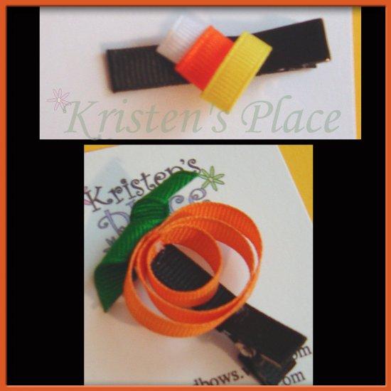 Halloween Hair Clippies - U Choose - Pumpkin or Candycorn