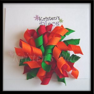 Red, Orange, and Green Large Korker Bow - Fall / Autum