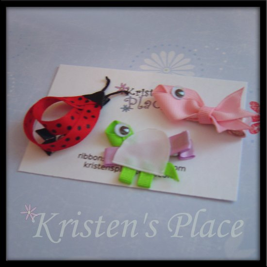 Ladybug, Turtle, and Fish Hair Clips - Boutique Bow Set