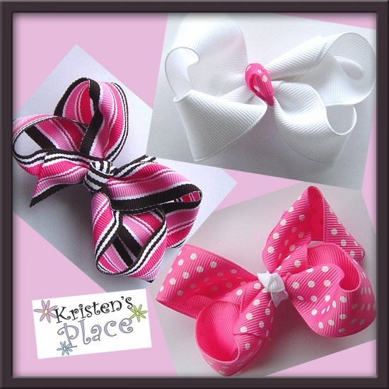 Boutique Hair Bow Set - 3 Med Bows - Pink/Brown/White - No Slip Grip Available
