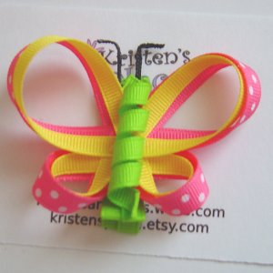 Pink, Yellow, and Green Double Wing Butterfly Hair Clip