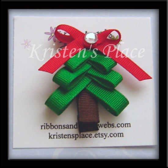 Christmas Tree Clippie - Christmas Hair Clip / Bow