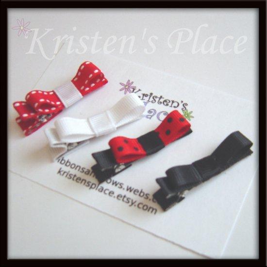 4 Tuxedo Hair Clips - Red, White, Black - No Slip Grip Available