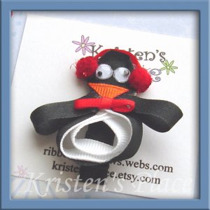 Penguin Hair Clip - Winter Holiday Bow - Boutique Christmas Bow