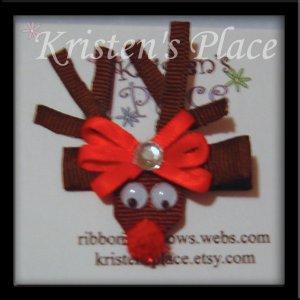 Reindeer Hair Clip - Rudolf Hair Bow - Boutique Christmas Bow